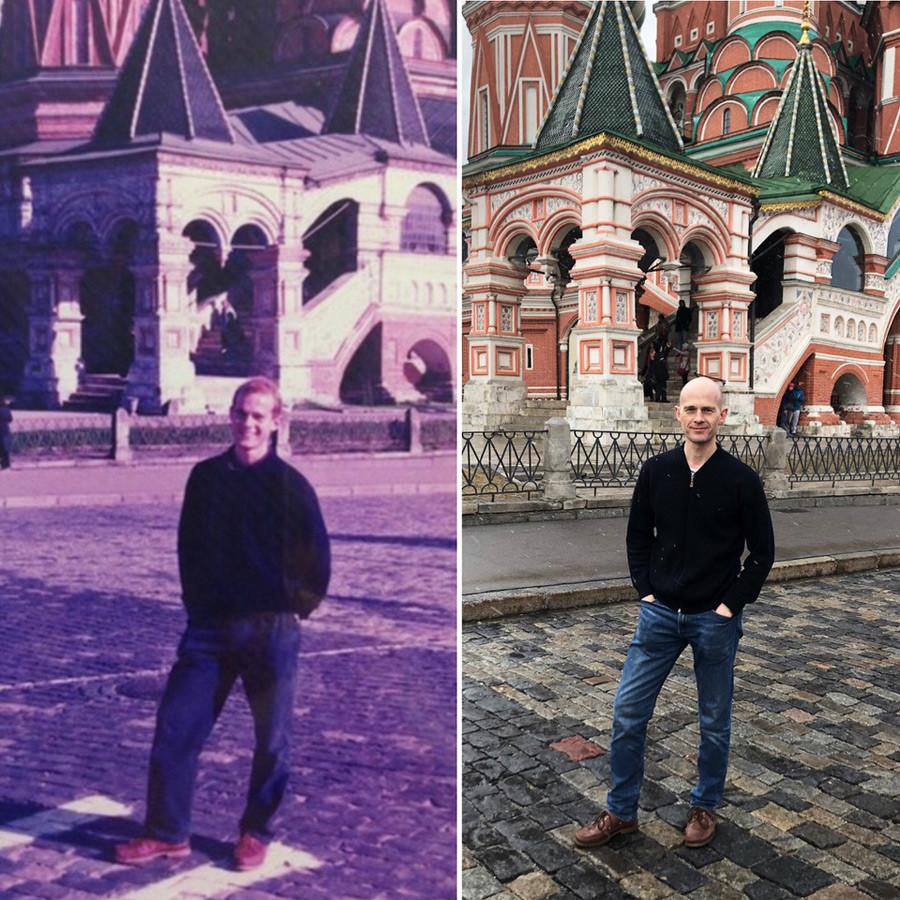Ендру Бајрон на Црвеном тргу. Лево – почетак 1990-их, десно – 2019. година.