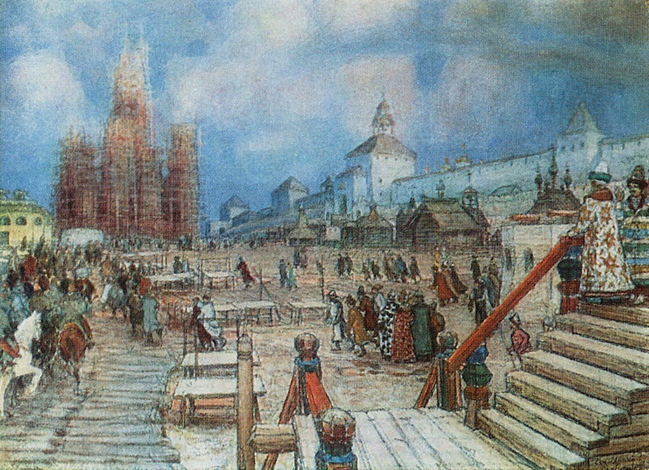 """Lukisan """"Lapangan Merah pada masa pemerintahan Ivan yang Mengerikan"""" karya Appolinary Vasnetsov. Pada lukisan itu, Katedral St. Basil tampak sedang dibangun."""
