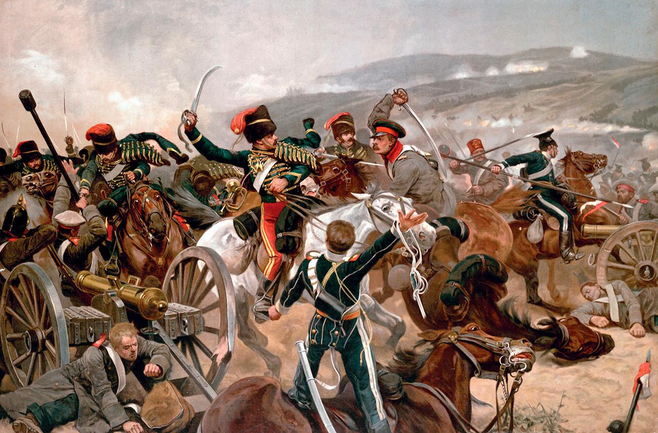 Pertempuran Balaclava 1854, selama Perang Krimea. Inggris dan Prancis bertempur bersama Turki melawan tentara Rusia.