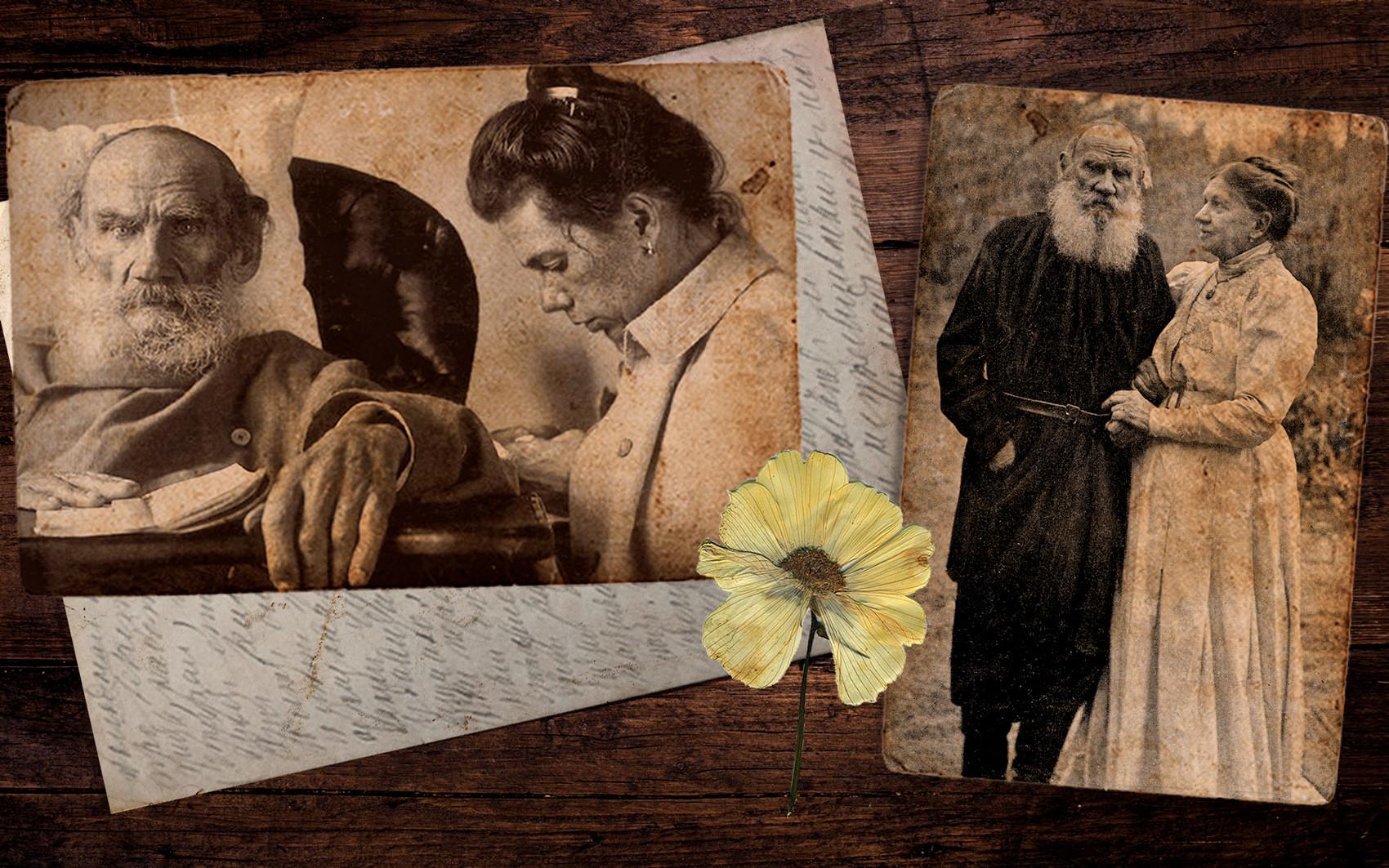Толстој са женом Софијом; Толстој са ћерком на лечењу на Криму.
