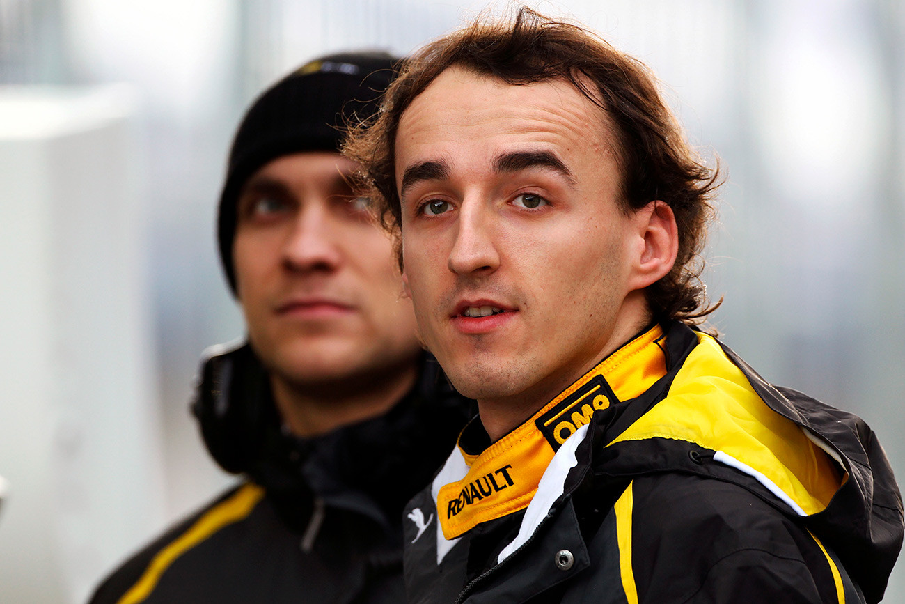 Robert Kubica with team mate Vitaly Petrov.