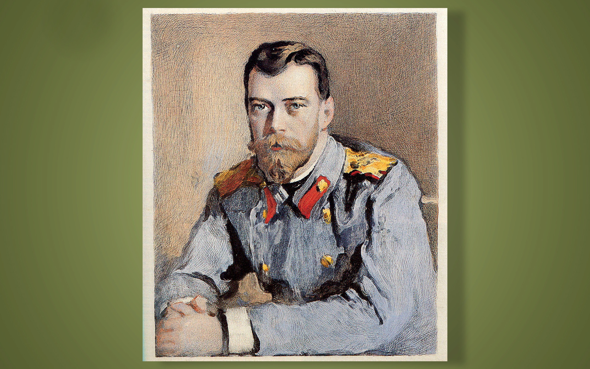 Lukisan Tsar Nikolay II of mengenakan tuzhurka.