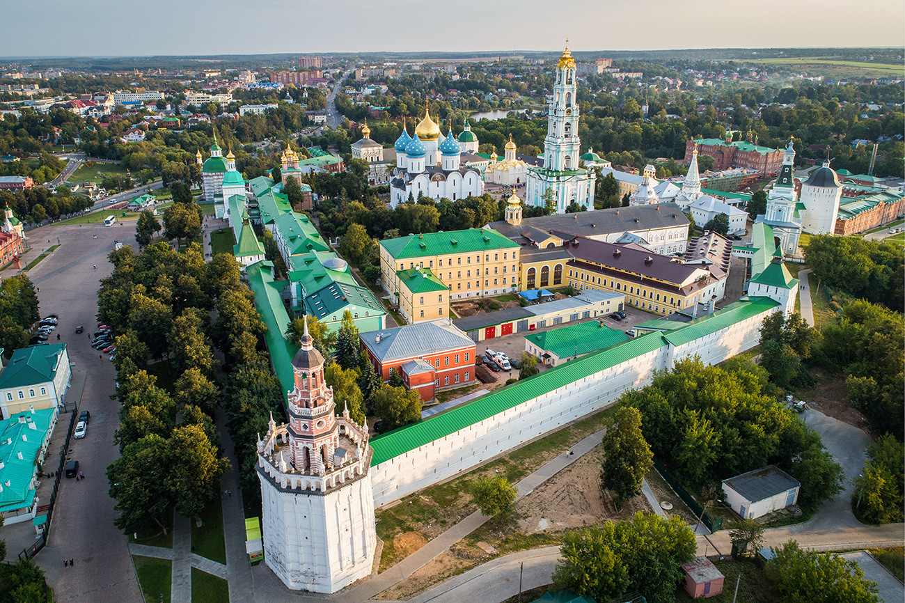 The aerial view of the Trinity Lavra of St. Sergius