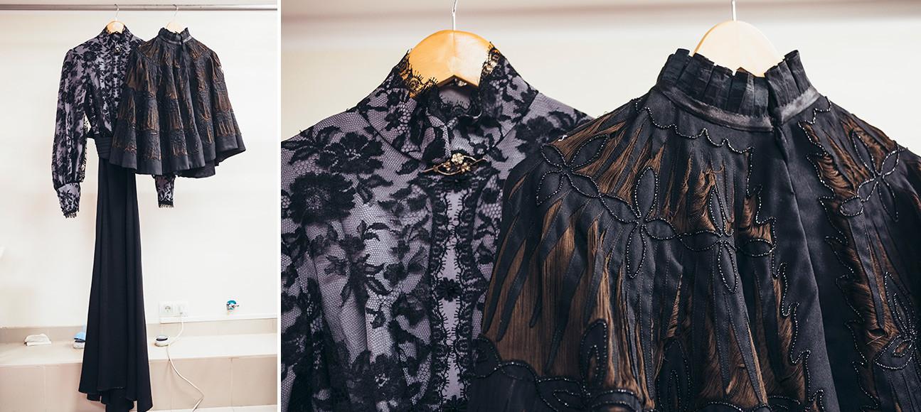 アントン・チェーホフの戯曲に基づく劇『三人姉妹』。マーシャの衣装(資料庫に保管されている古い女性用マント)。