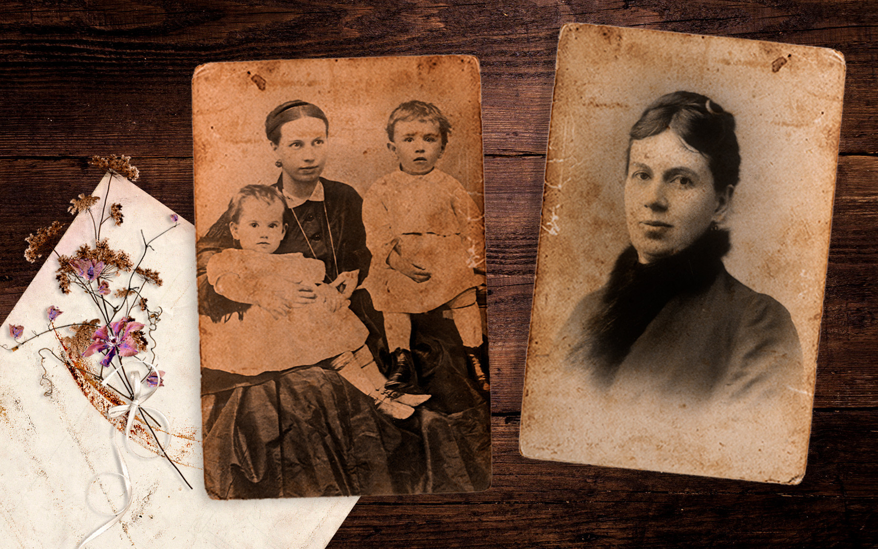 Жената на Лав Толстој Софија со децата Тања и Серјожа, 1866.