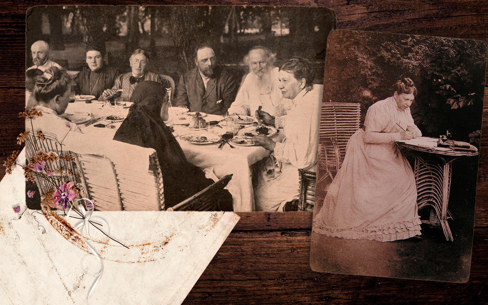 Семејството Толстој собрано во Јасна Полјана; Софија Андреевна Толстој, жената на Лав Толстој