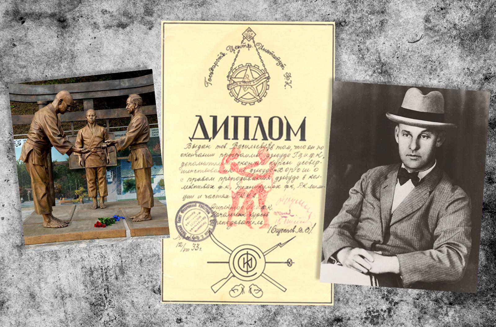 左:ワシリー・オシェプコフの記念像。中央:ワシリー・オシェプコフがサインした卒業証書。右:ワシリー・オシェプコフ。