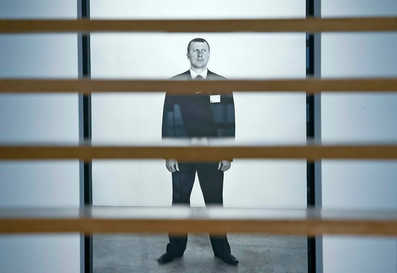 Olga Chernysheva. The photograph 'Guard' at the exhibition 'Compossibilities' in the Kunsthalle (Art Hall) in Erfurt, Germany