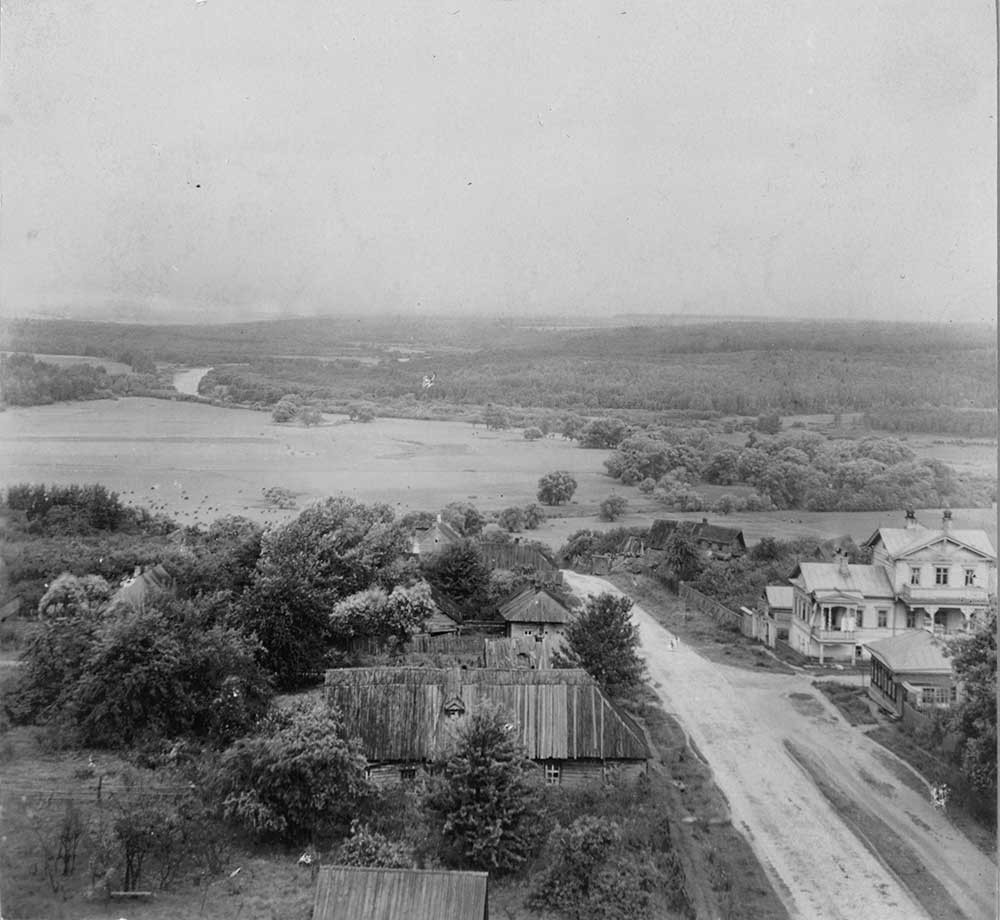 View of  Maloyaroslavets battlefield photographed from bell tower of Cathedral of Kazan Icon of the Virgin. St. John's Meadow & Luzha River. Summer 1912