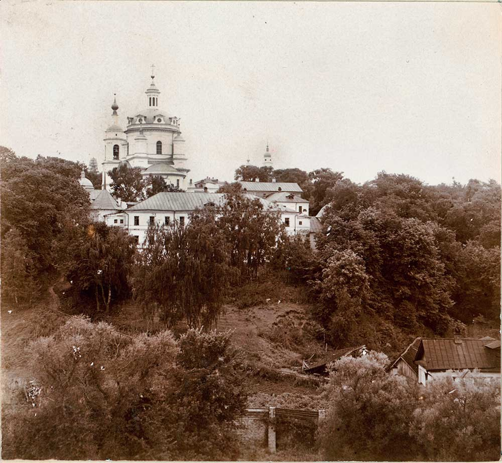 St. Nicholas-Chernoostrovsky Convent. Cloisters, Cathedral of St. Nicholas & bell tower. Southeast view. Summer 1912