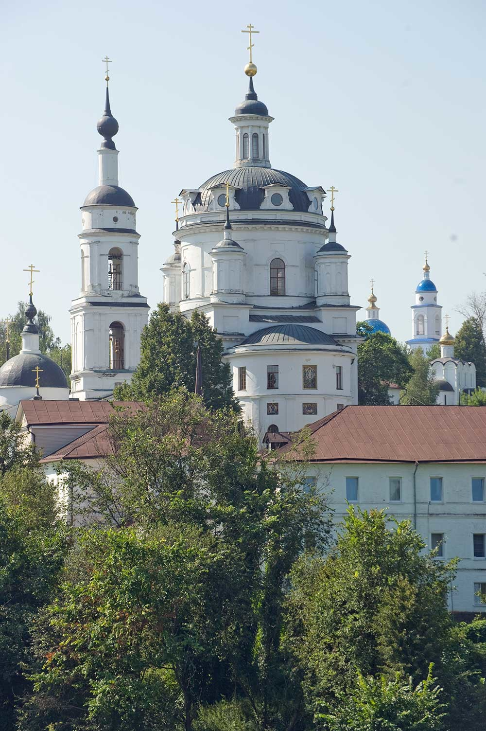 St. Nicholas-Chernoostrovsky Convent, southeast view. From left: Church of the