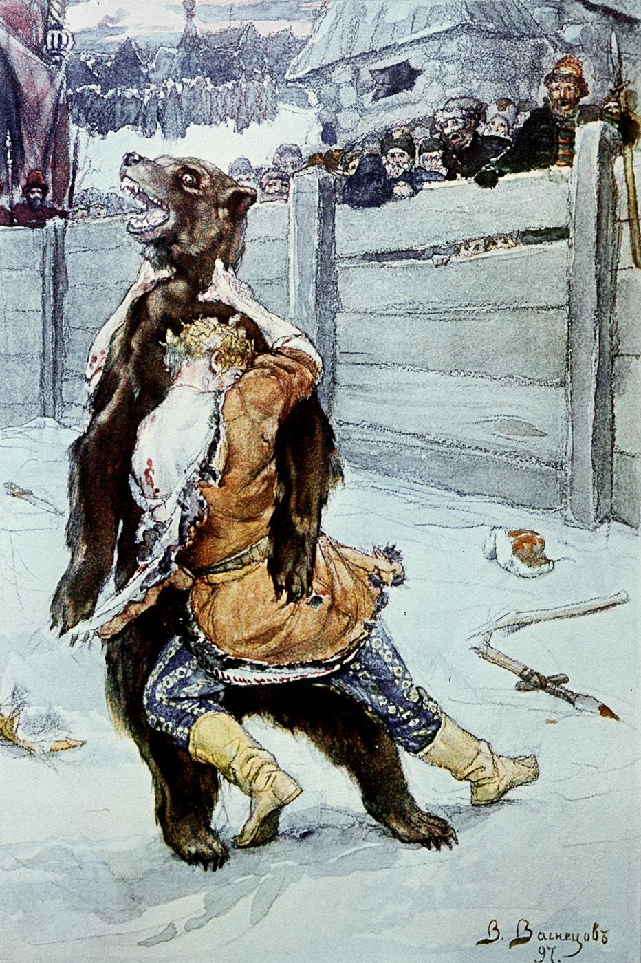 Reproduction du tableau de Victor Vasnetsov, Le combat contre l'ours