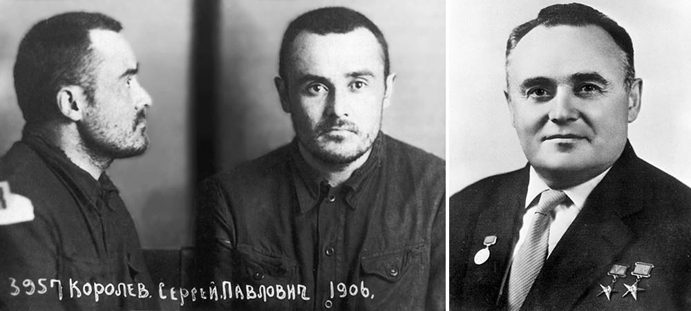 Sergej Koroljov po 18 mesecih zapora (levo) in kot kasnejši slavni raketni inženir (desno)
