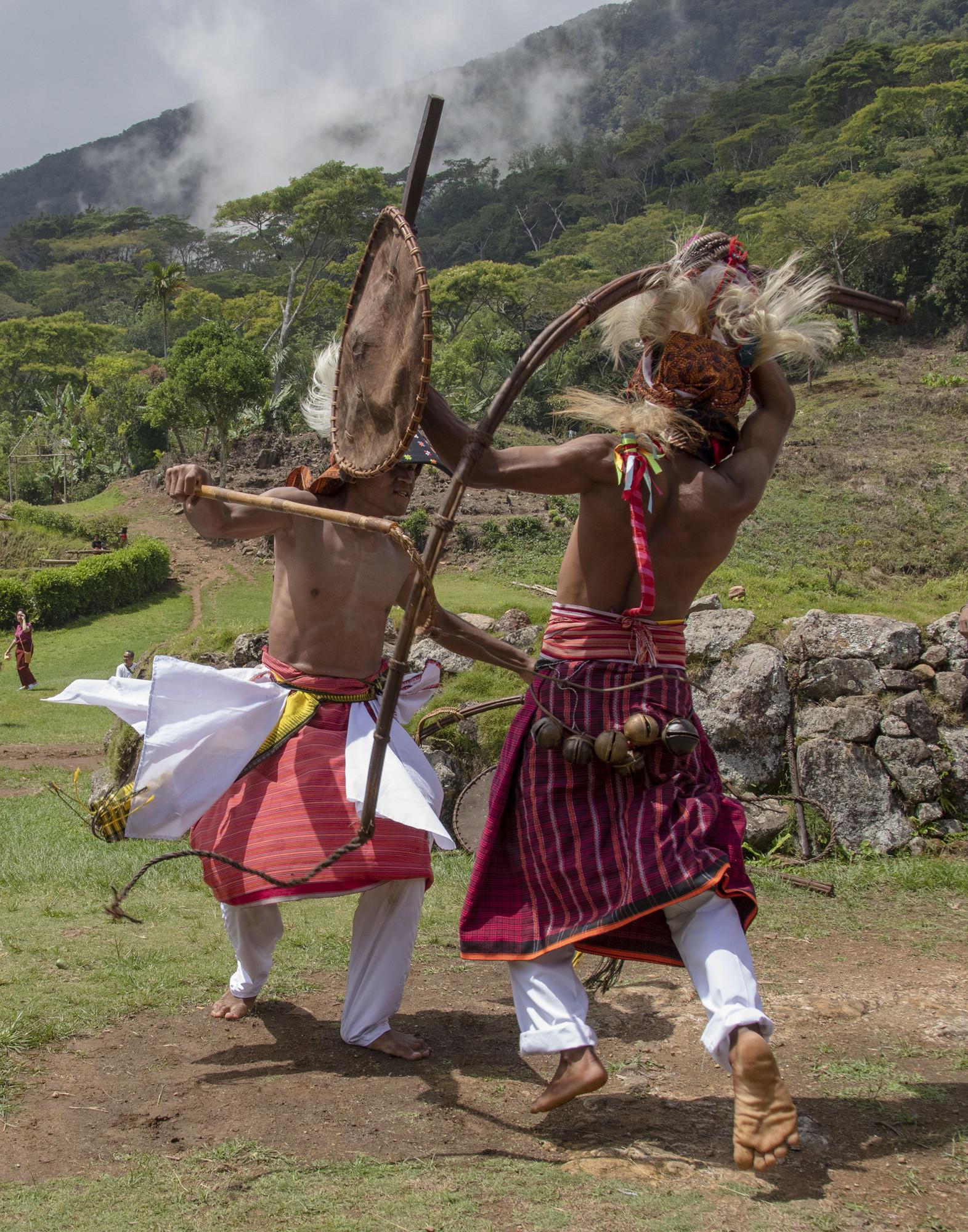 Tarian Caci, pertarungan adu cambuk satu lawan satu yang menjadi bagian dari ritual Penti di Desa Waerebo, Flores.