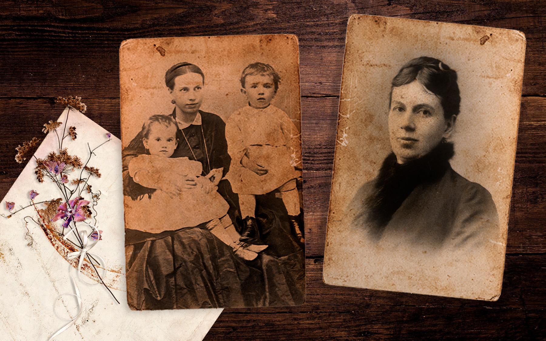 Sofia e seus filhos Serguêi e Tânia Tolstói.