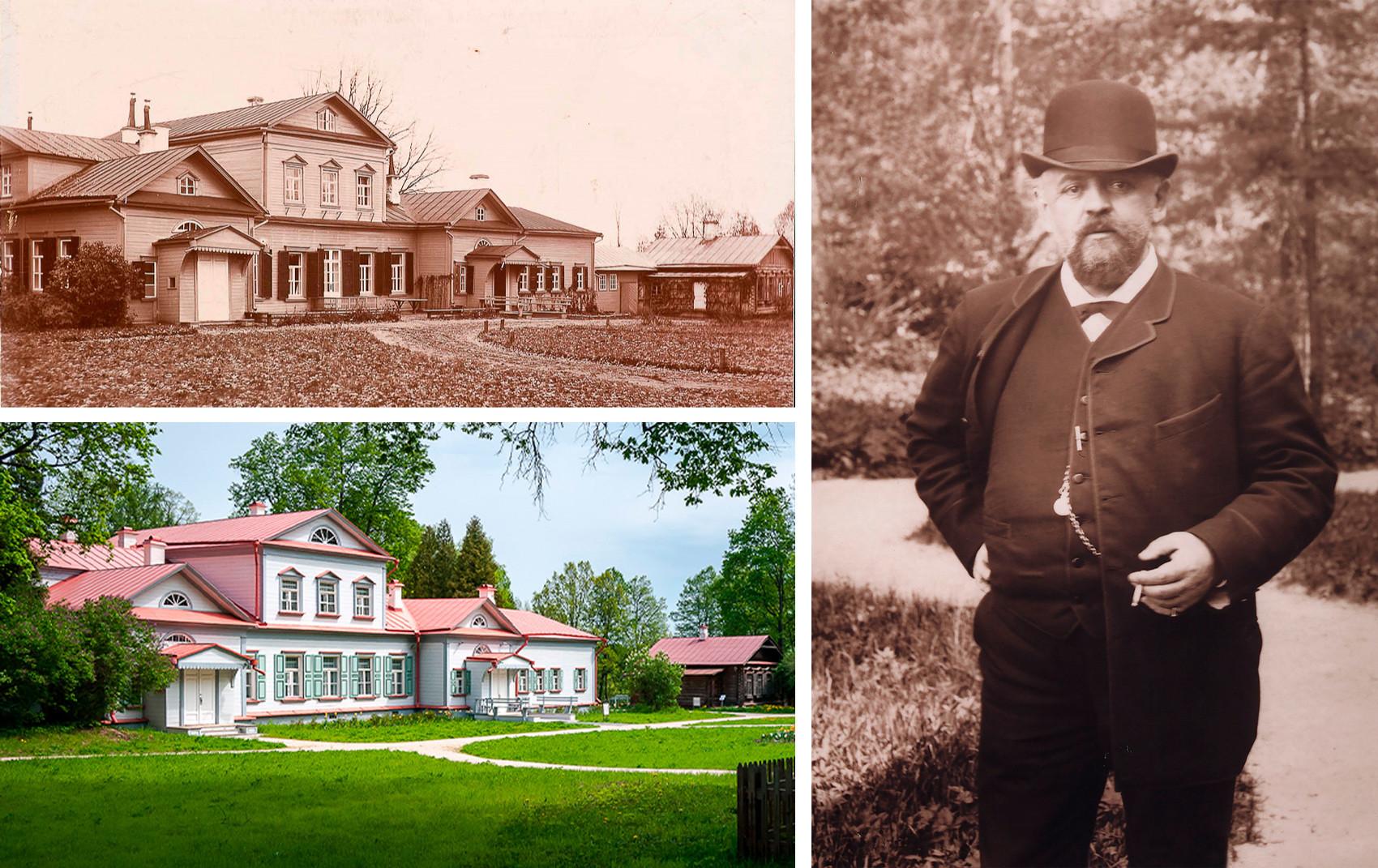 Casa principal (no topo esquerdo, nos anos 1900; abaixo, na atualidade) e, à dir., Sávva Mámontov.