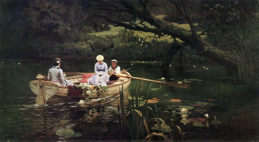 """Vassíli Polênov. """"No barco. Abramstevo"""" (1880)."""
