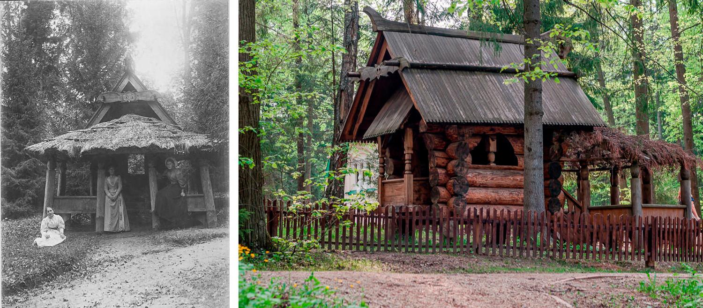 """A """"casa sobre pernas de galinha"""" foi inspirada em contos populares eslavos e construída em 1883, com projeto do artista Víktor Vasnetsóv (à esq., na década de 1900; à dir., nos dias atuais)."""