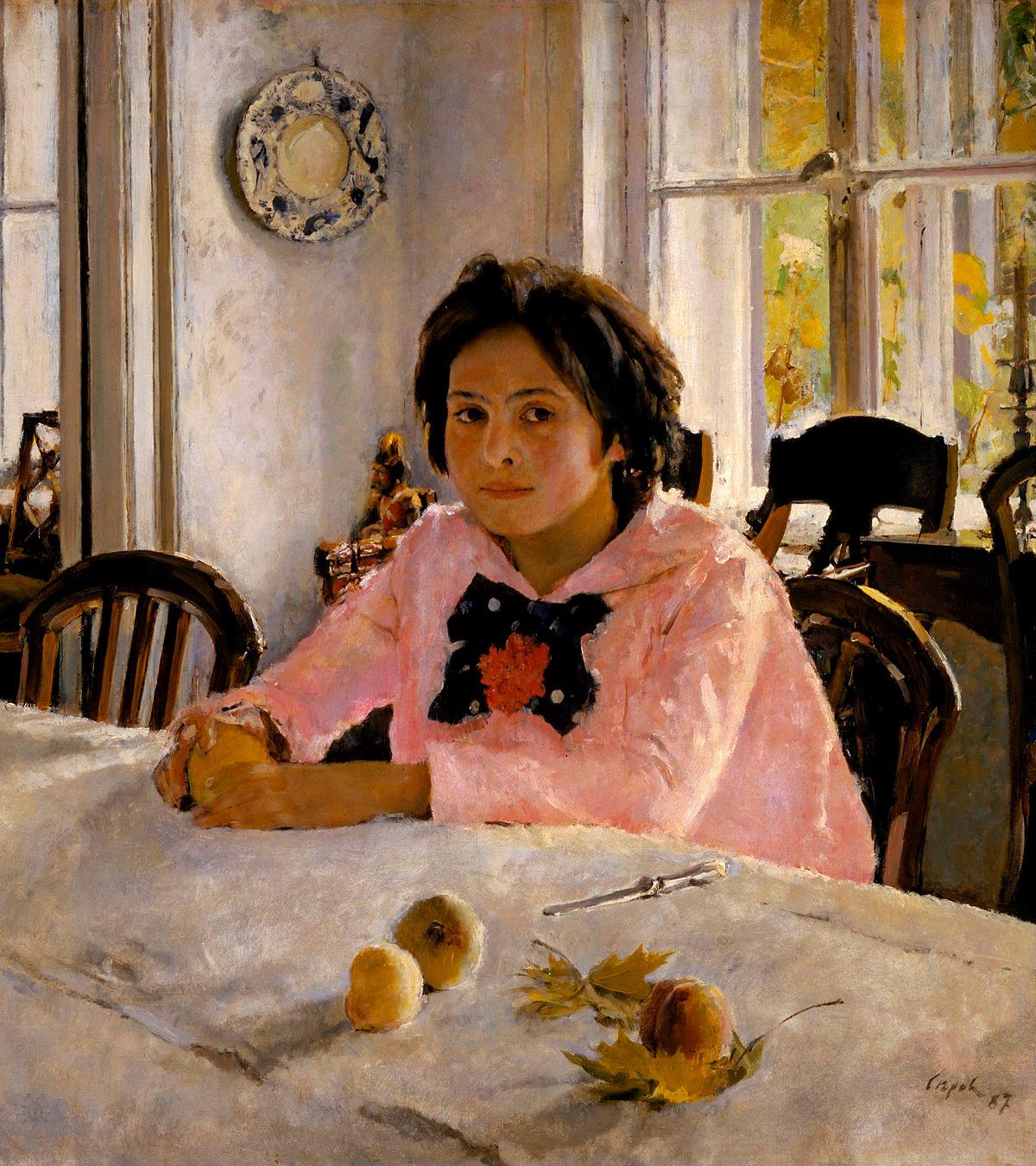 """Valentín Seróv. """"Menina com pêssegos"""" (1887). A tela é, na verdade, um retrato da filha de Sávva Mámontov, Vera, e foi pintado em Abrâmtsevo."""