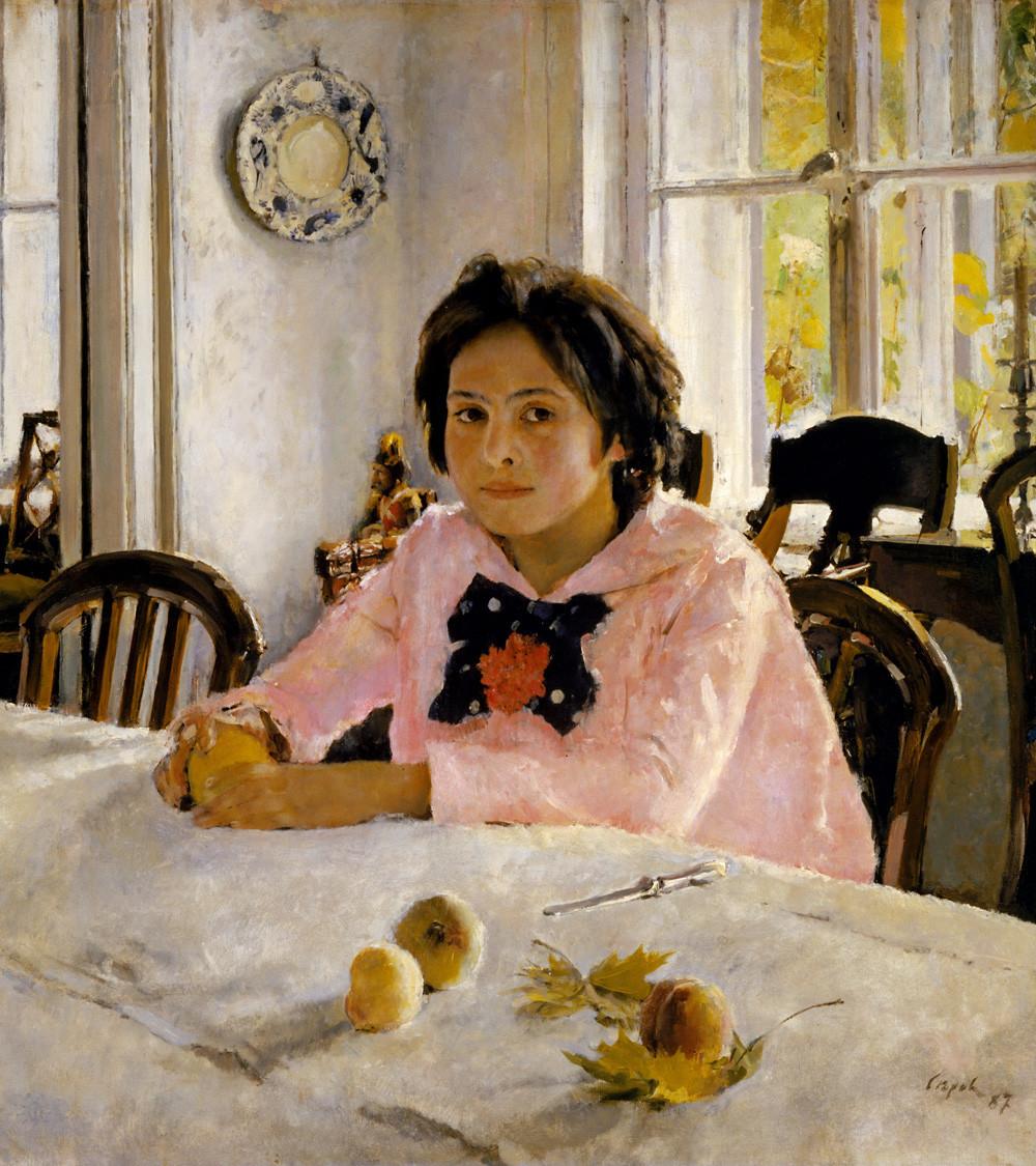 """""""Das Mädchen mit den Pfirsichen"""" von Walentin Serow, 1887. Auf dem Gemälde ist die Tochtervon Sawwa Mamontow, Wera, zu sehen."""
