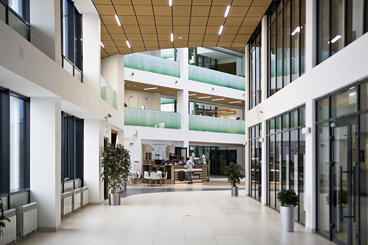 Inside the university.