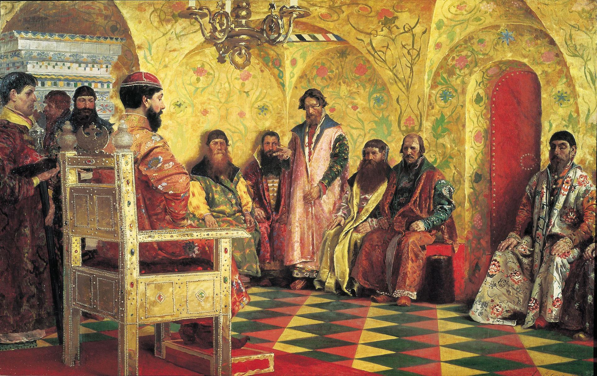 Andrey Ryabushkin. Session of Tsar Mikhail Feodorvich with his boyars in his State Chamber (1893)