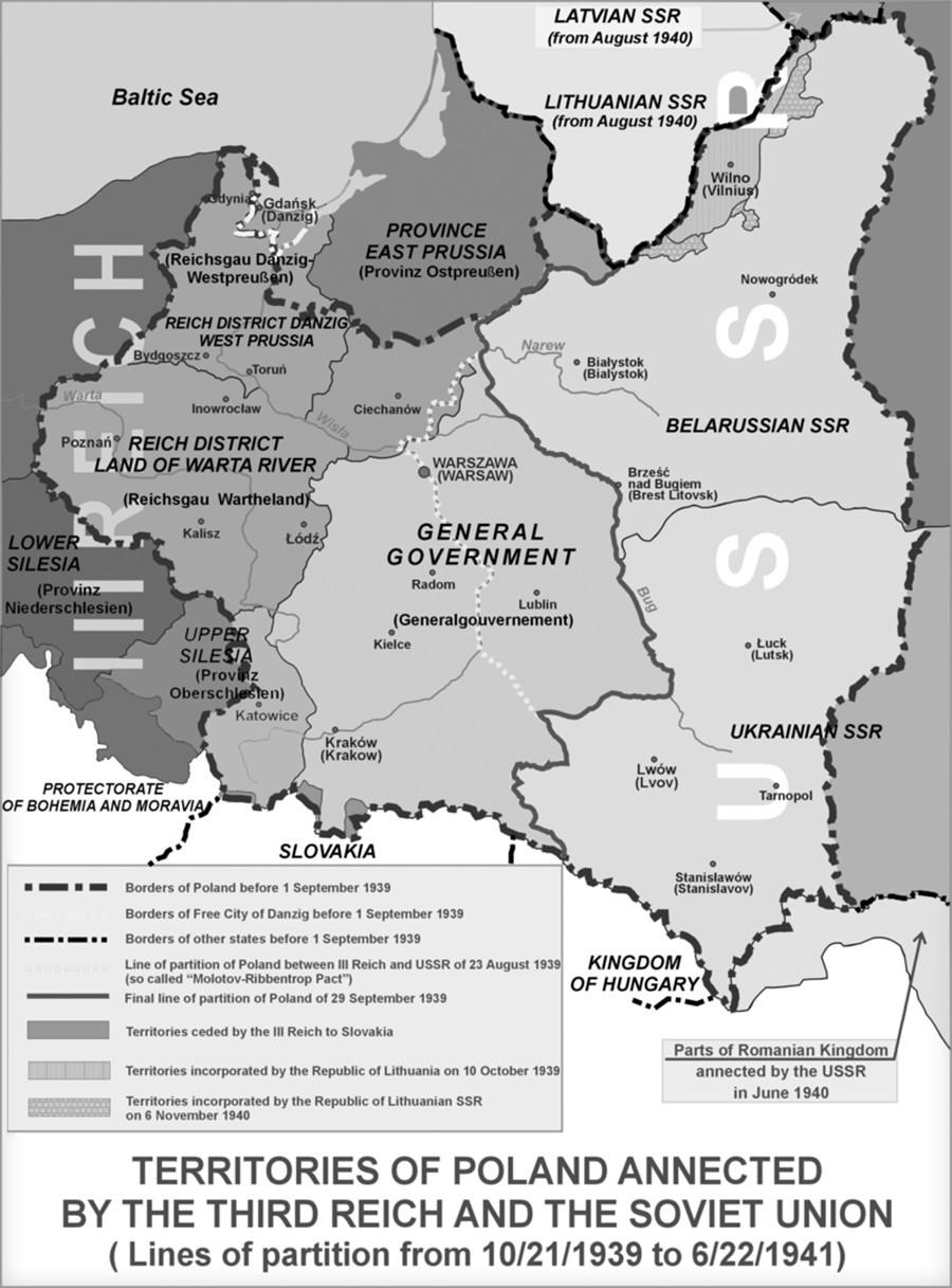 La Pologne occupée par l'Allemagne nazie (Troisième Reich) et l'URSS (21/10/1939-22/06/1941)