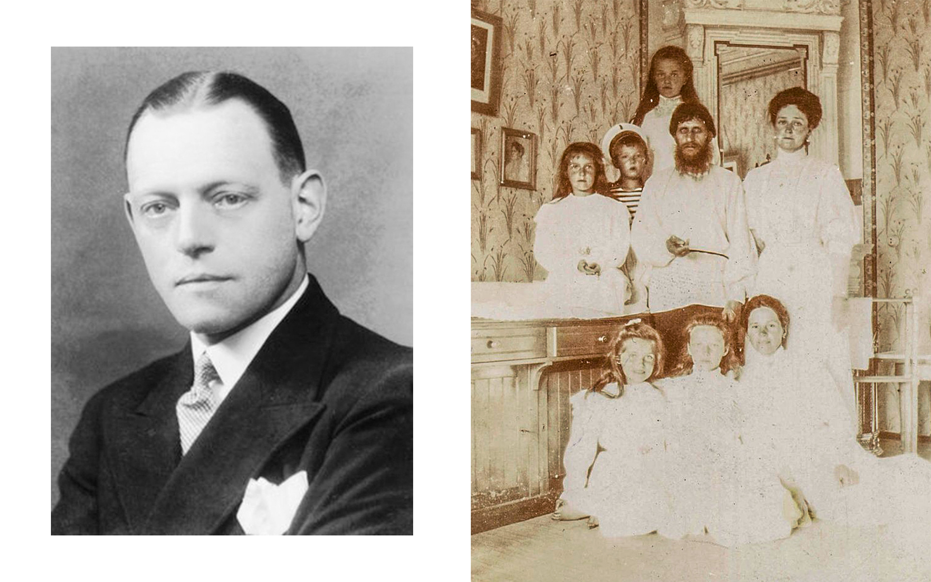 Left: Oswald Rayner. Right: Rasputin with the Romanov family