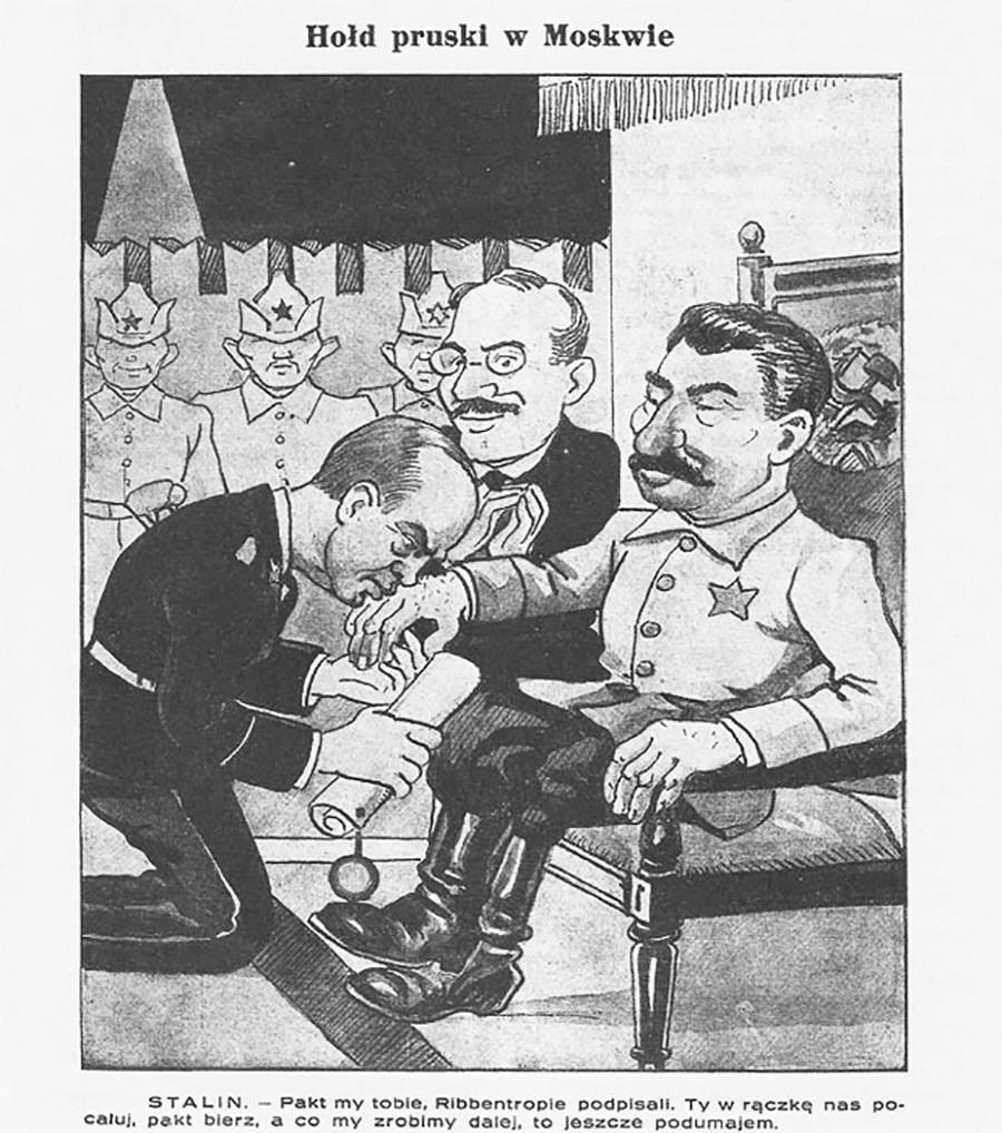 Caricatura polonesa mostra Ribbentrop beijando a mão de Stálin.
