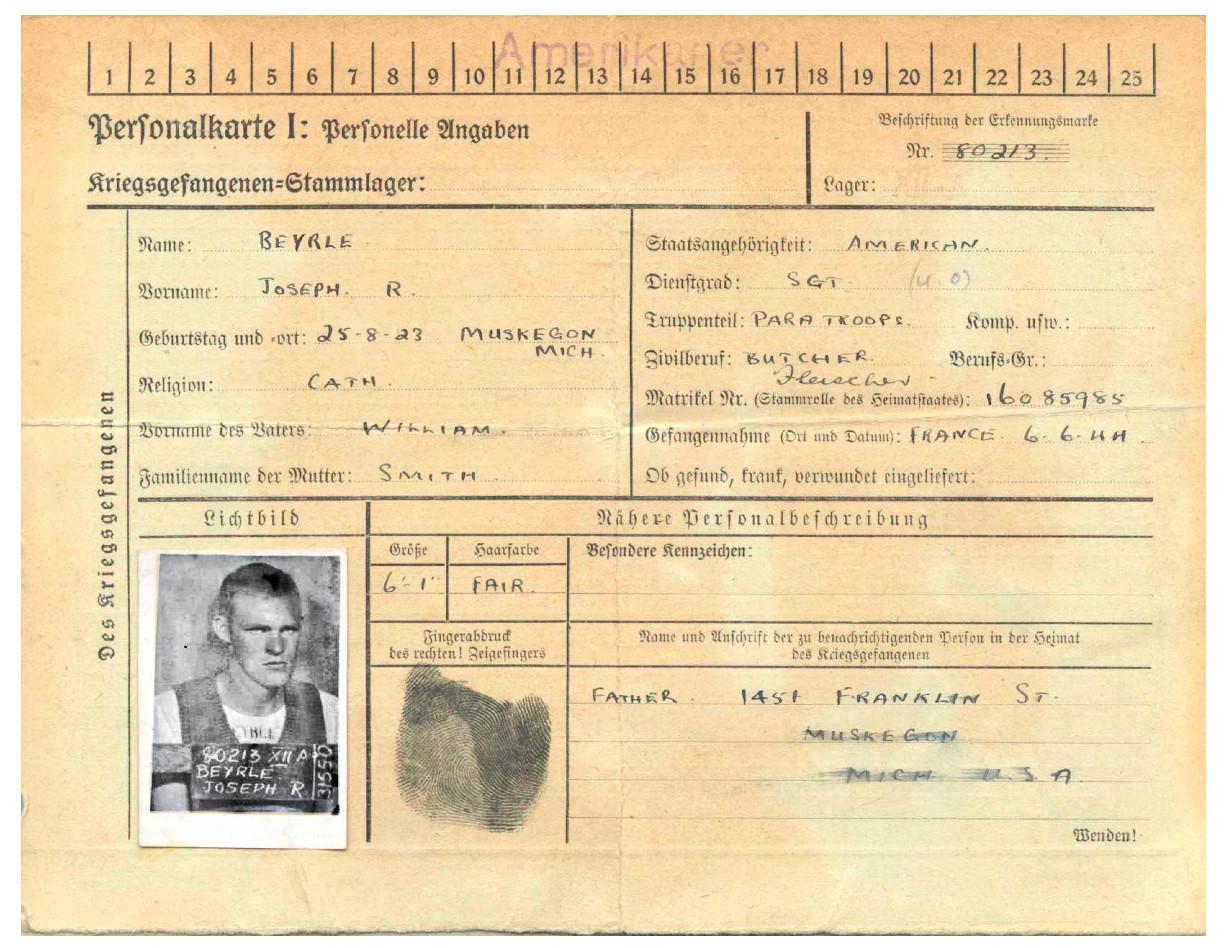 Немецкая запись с подробностями Бейрле в качестве военнопленного.