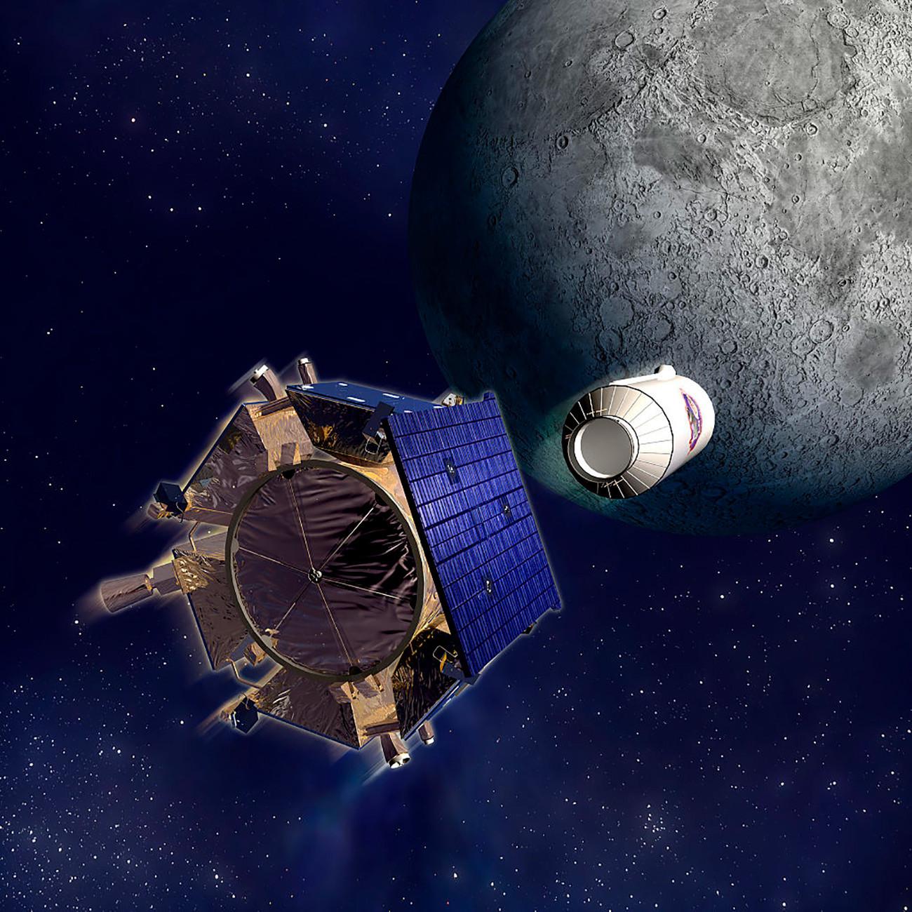 Ilustracija međuplanetarne svemirske stanice LCROSS i modula