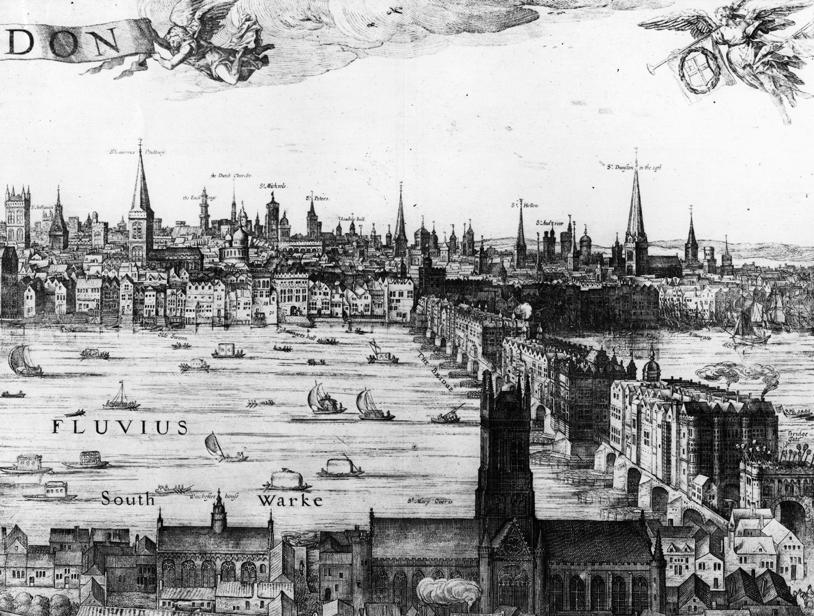 Vischer's Panorama of London, showing London Bridge, 1616.