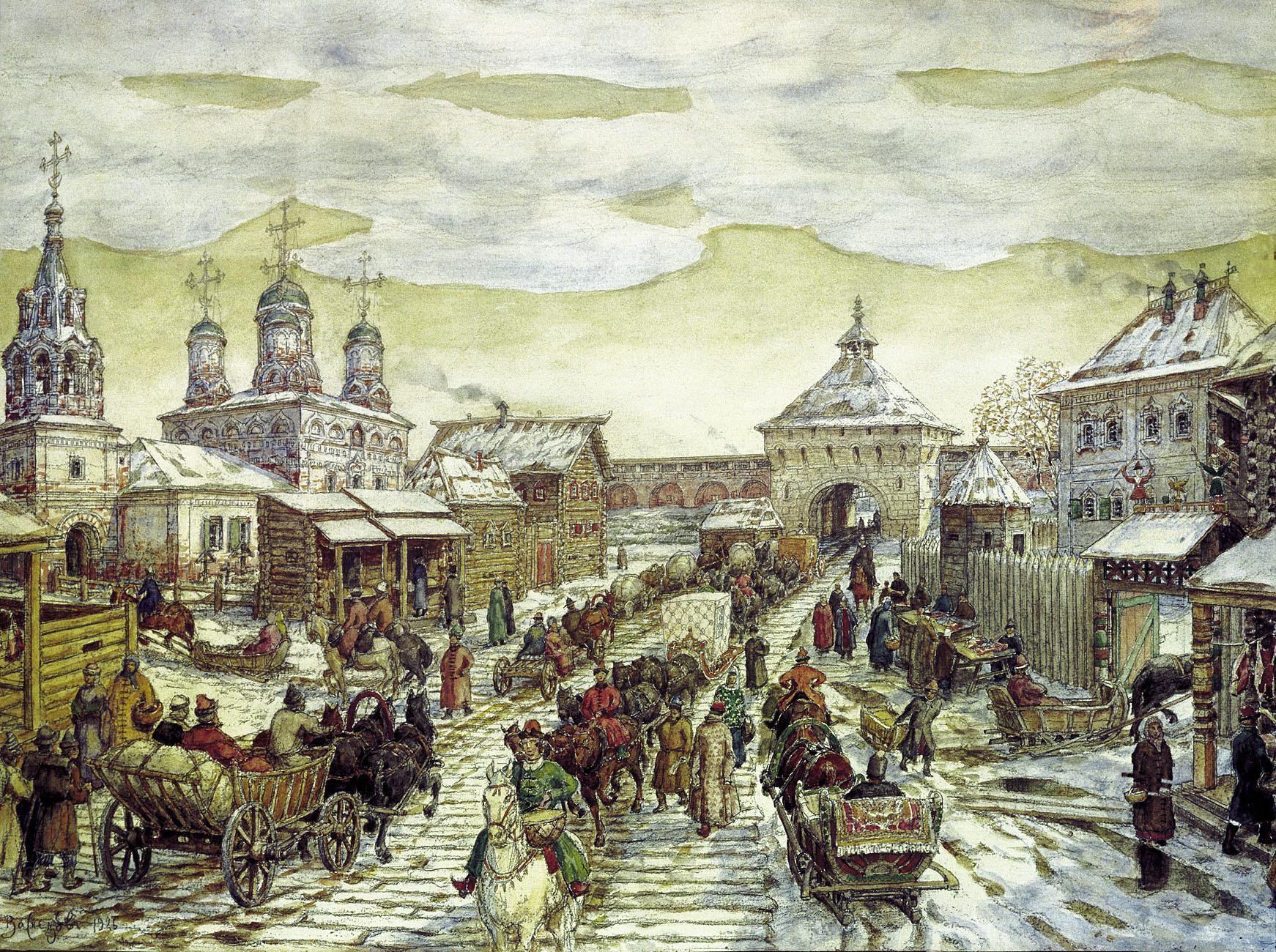 Аполинариј Васнецов. Код Мјасницких врата Белог града у 17. веку
