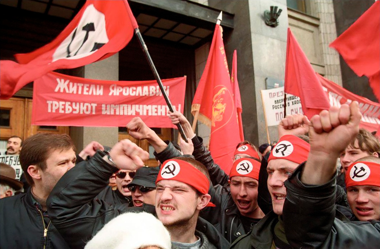 The National Bolshevik Party activists standing for Yeltsin's impeachment, Moscow, 1999