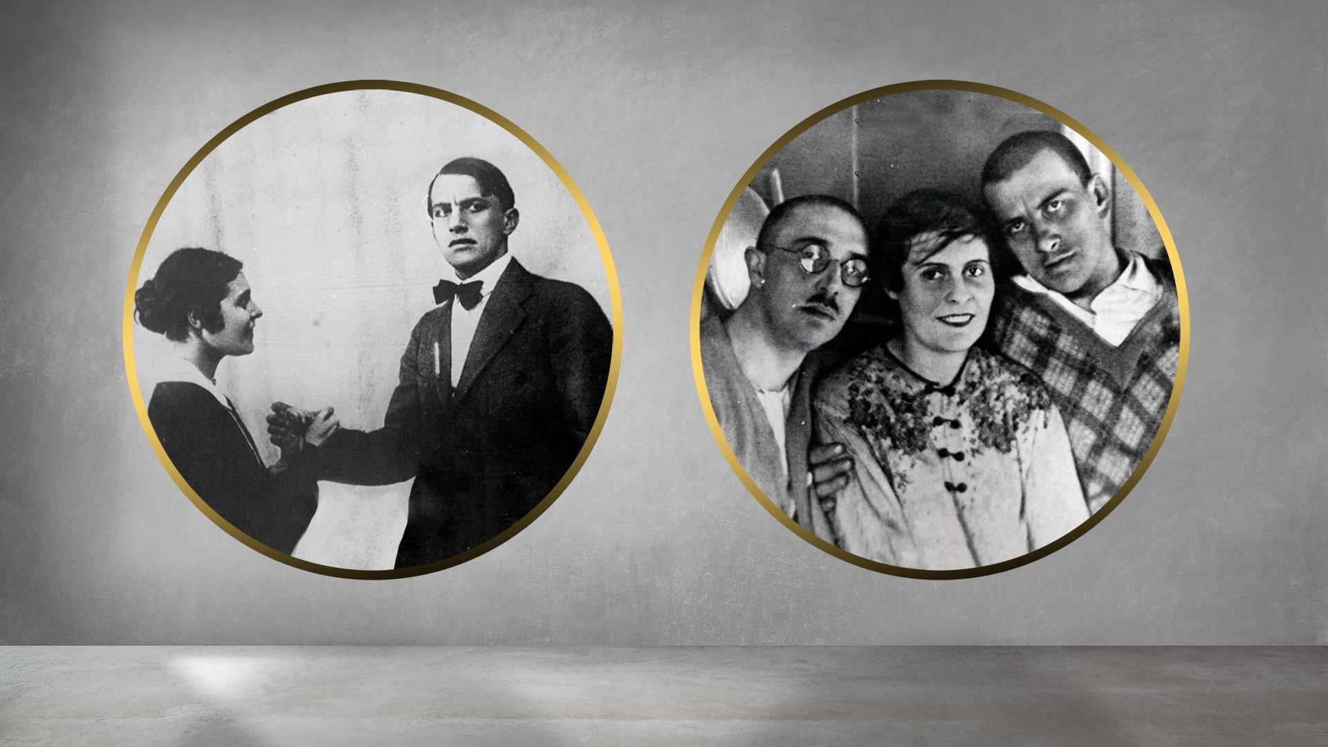Lília Brik e Vladímir  Maiakóvski , 1918; Óssip, Lília, Vladímir , 1920.