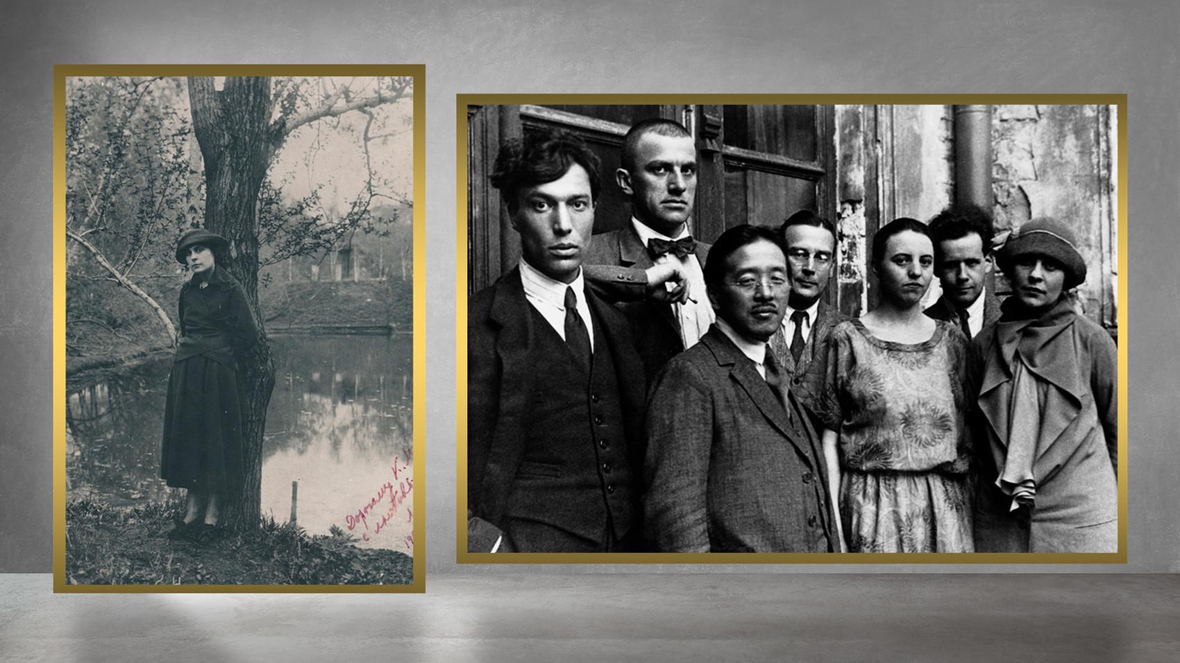O escritor japonês Tamizi Naito em Moscou com escritores, 1924.