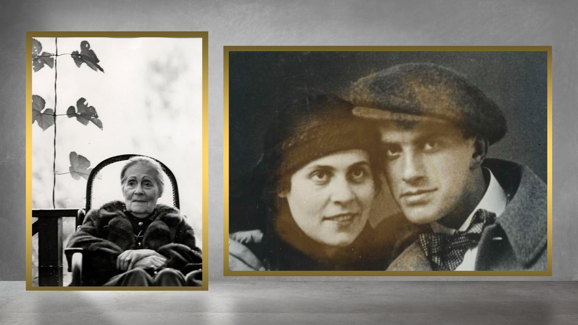 Lília Brik em Peredelkino, em 1977, e com Maiakóvski , em Petrogrado, em 1915.