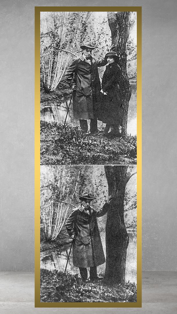 Maiakóvski e Brik. Lília foi removida desta foto na década de 1960.