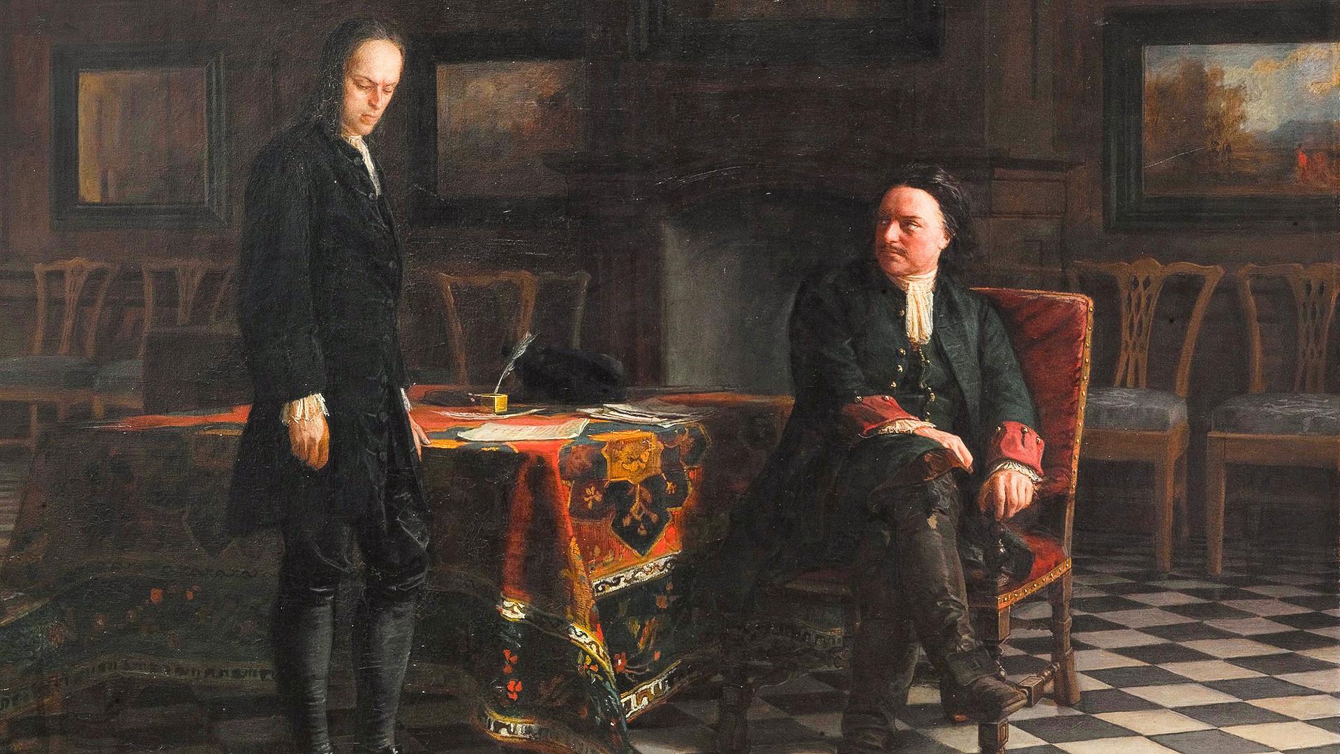 Pedro, o Grande, interroga o tsarevitch Aleksêi Petróvitch em Peterhof, em 1871.