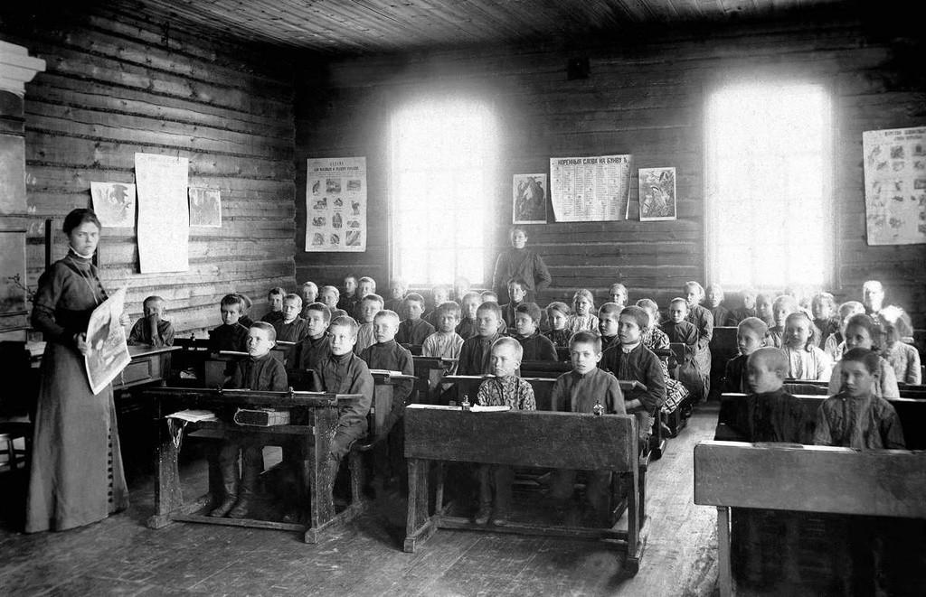 Aula de religião em escola do Zemstvo.