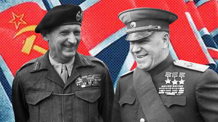 Британският фелдмаршал Бърнард Монтгомъри и Маршал Георги Жуков, който оглавява съветската делегация в края на Втората световна война, на Бранденбургската врата в Берлин, 13 юли 1945 г.