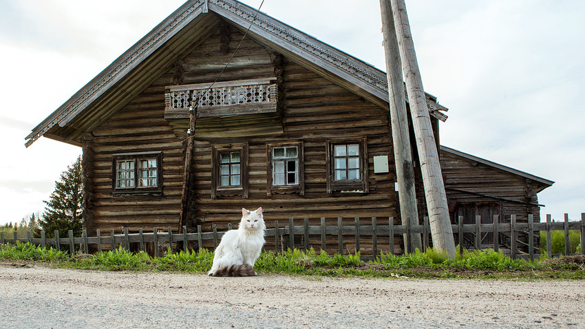 A wooden house in the village of Kinerma, Karelia.