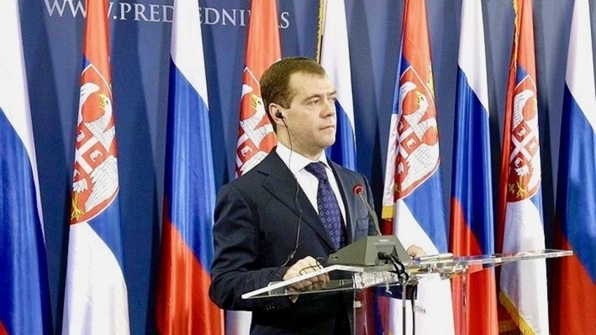 Председник Русиje Дмитриj Медведев током посете Србиje 2009. године