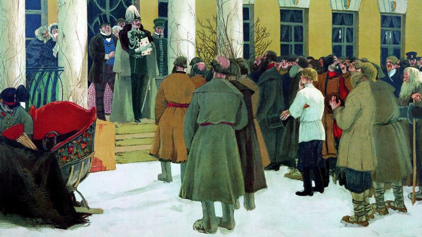 『農奴解放令の布告を聞く農民たち』ボリス・クストーディエフ, 1907