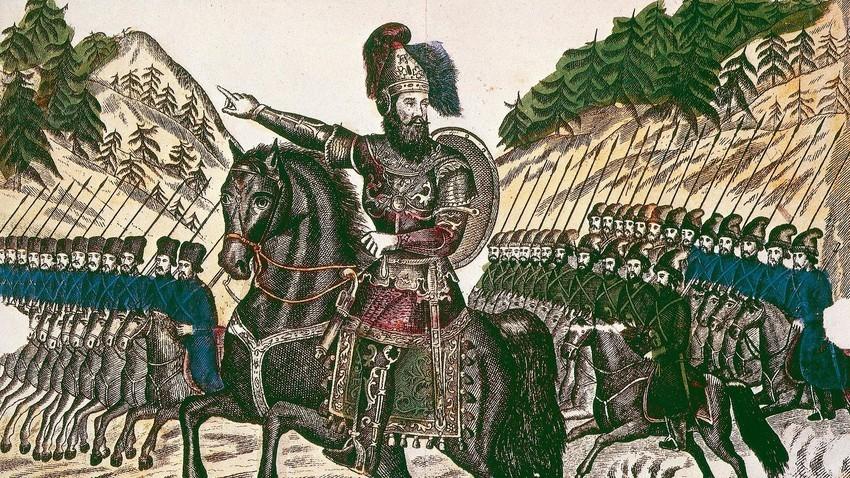 Козачкиот атаман Ермак на чело на својата војска.