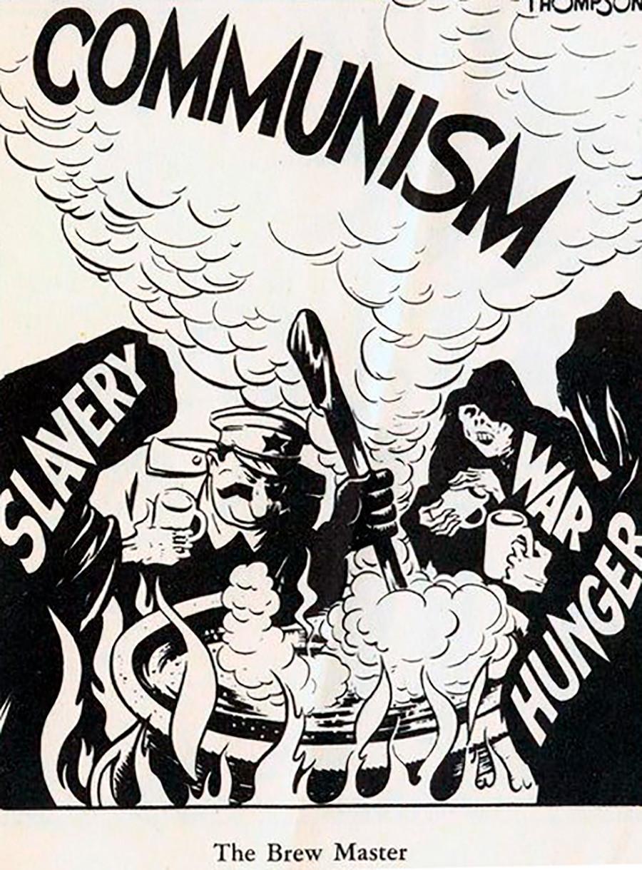 """4. El """"maestro cervecero"""", como se describe al líder soviético, rodeado de términos como """"esclavitud"""", """"guerra"""", """"hambre"""" y """"comunismo""""."""