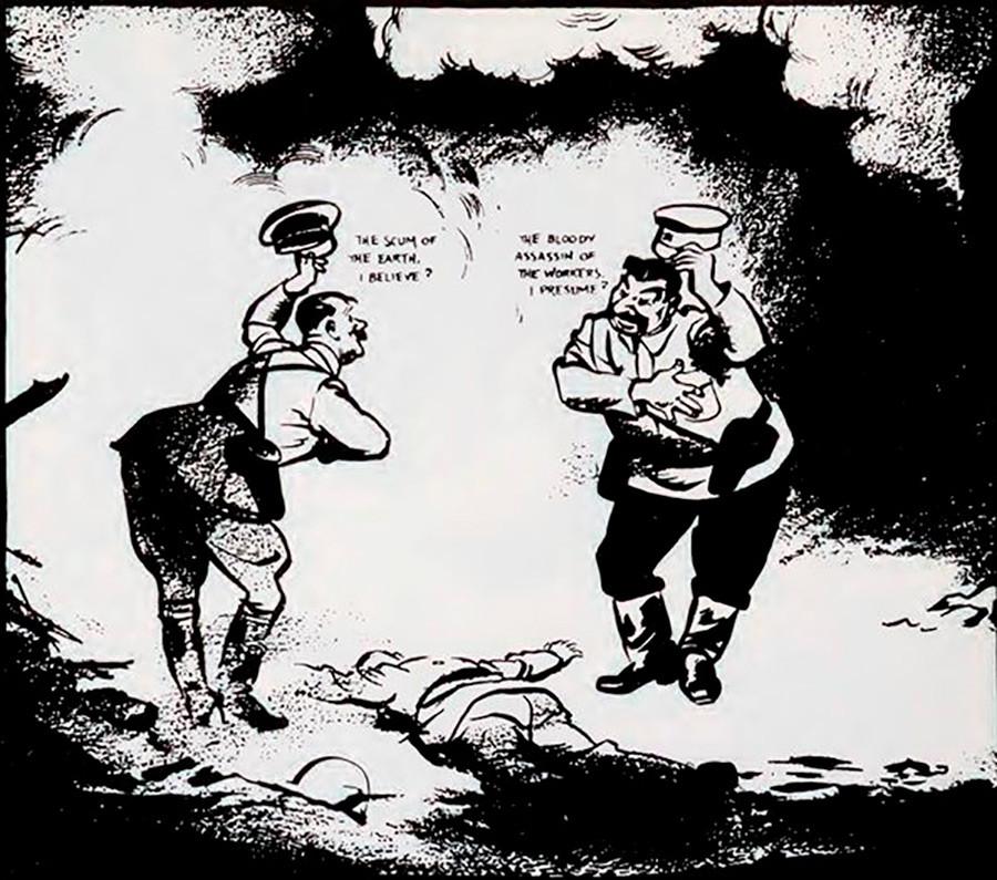 6. Stalin y Hitler intercambian saludos sobre el cuerpo de la derrotada Polonia.