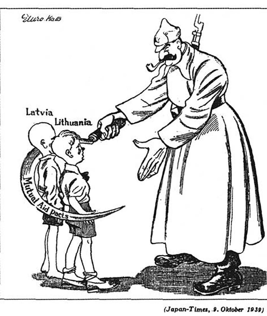 12. Reflexión japonesa sobre la celebración de tratados de asistencia mutua con los Estados bálticos. Letonia, Lituania y Estonia fueron obligados por la URSS a instalar bases militares y navales en su territorio con la excusa de proteger a estos Estados de una posible agresión nazi.
