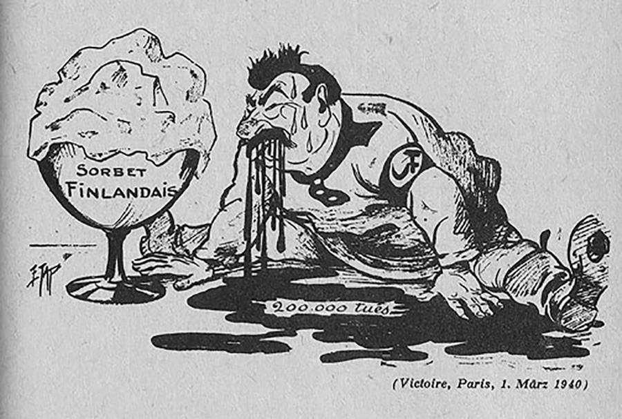 16. Una caricatura de la Guerra de Invierno entre la URSS y Finlandia (1939-1940): Stalin se 'rompió' los dientes al 'comerse' el sorbete finlandés.