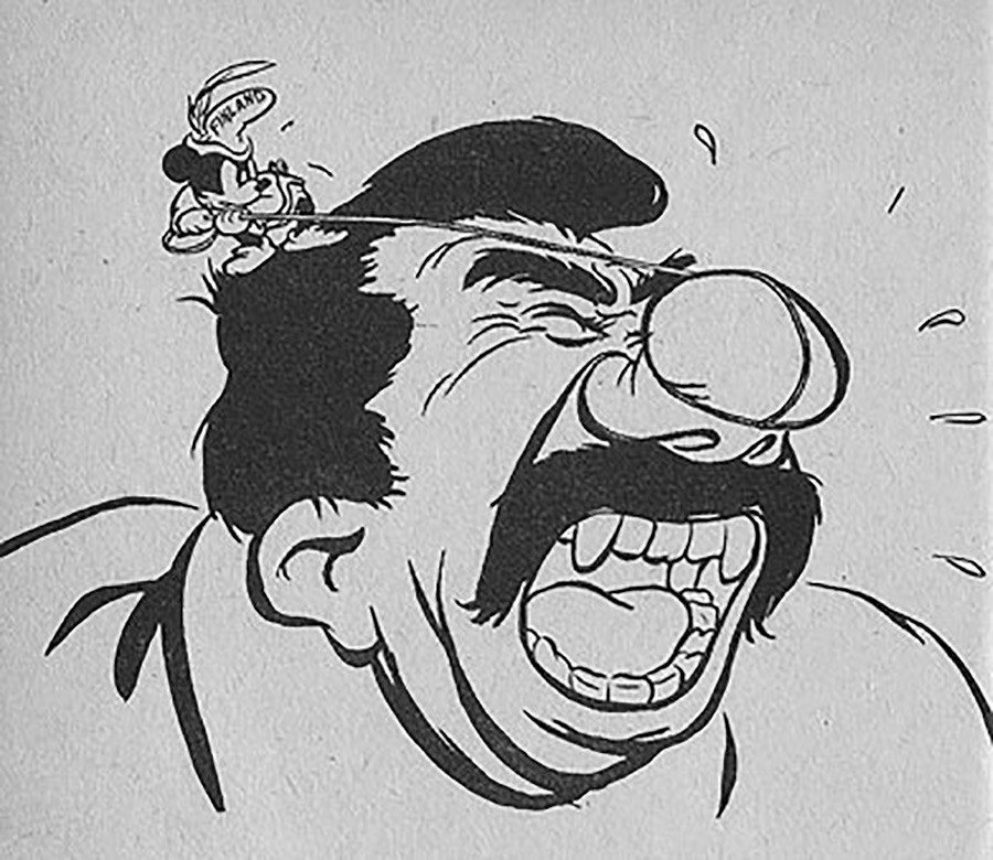 18. Otra caricatura sobre la Guerra de Invierno, con Finlandia como Mickey Mouse.